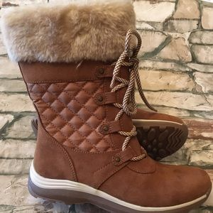 BareTraps Brown Quilted Boots Faux Shearling 6M